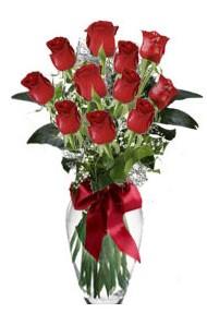 11 adet kirmizi gül vazo mika vazo içinde  Balıkesir 14 şubat sevgililer günü çiçek