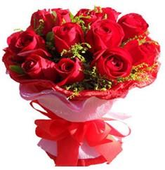 9 adet kirmizi güllerden kipkirmizi buket  Balıkesir çiçekçiler
