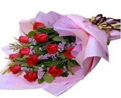 11 adet kirmizi güllerden görsel buket  Balıkesir çiçek gönderme sitemiz güvenlidir