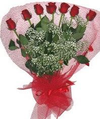7 adet kipkirmizi gülden görsel buket  Balıkesir çiçek mağazası , çiçekçi adresleri