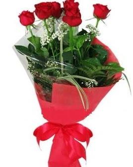 5 adet kırmızı gülden buket  Balıkesir kaliteli taze ve ucuz çiçekler