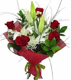 1 dal kazablanka 5 kırmızı gül buketi  Balıkesir kaliteli taze ve ucuz çiçekler