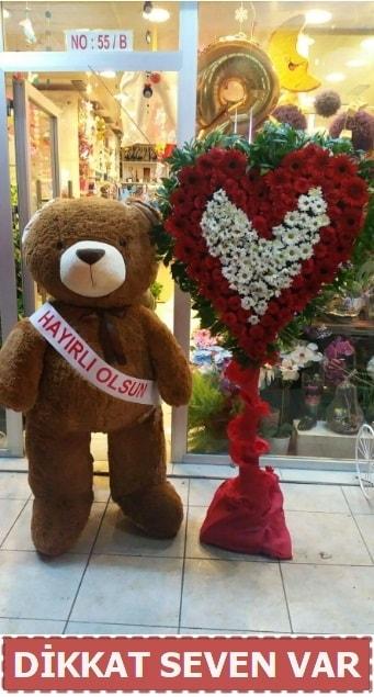 1.5 Metre peluş ayı ve Kalp  Balıkesir çiçek gönderme sitemiz güvenlidir