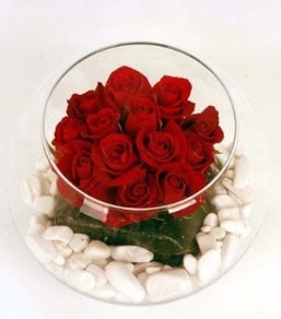 Cam fanusta 11 adet kırmızı gül  Balıkesir çiçek gönderme