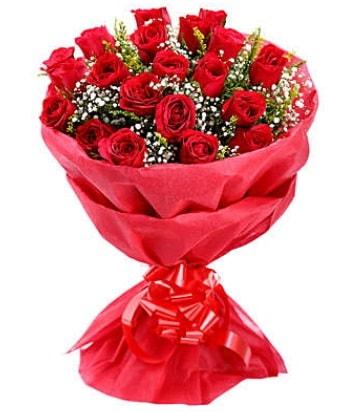 21 adet kırmızı gülden modern buket  Balıkesir çiçek gönderme