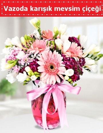 Vazoda karışık mevsim çiçeği  Balıkesir çiçek , çiçekçi , çiçekçilik