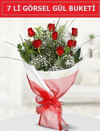 7 adet kırmızı gül buketi Aşk budur  Balıkesir çiçek satışı